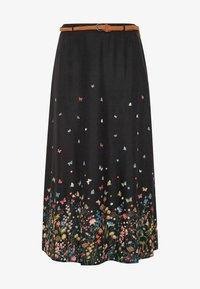 Yours Clothing - FLORAL BUTTERFLY  - Maxi skirt - black - 2
