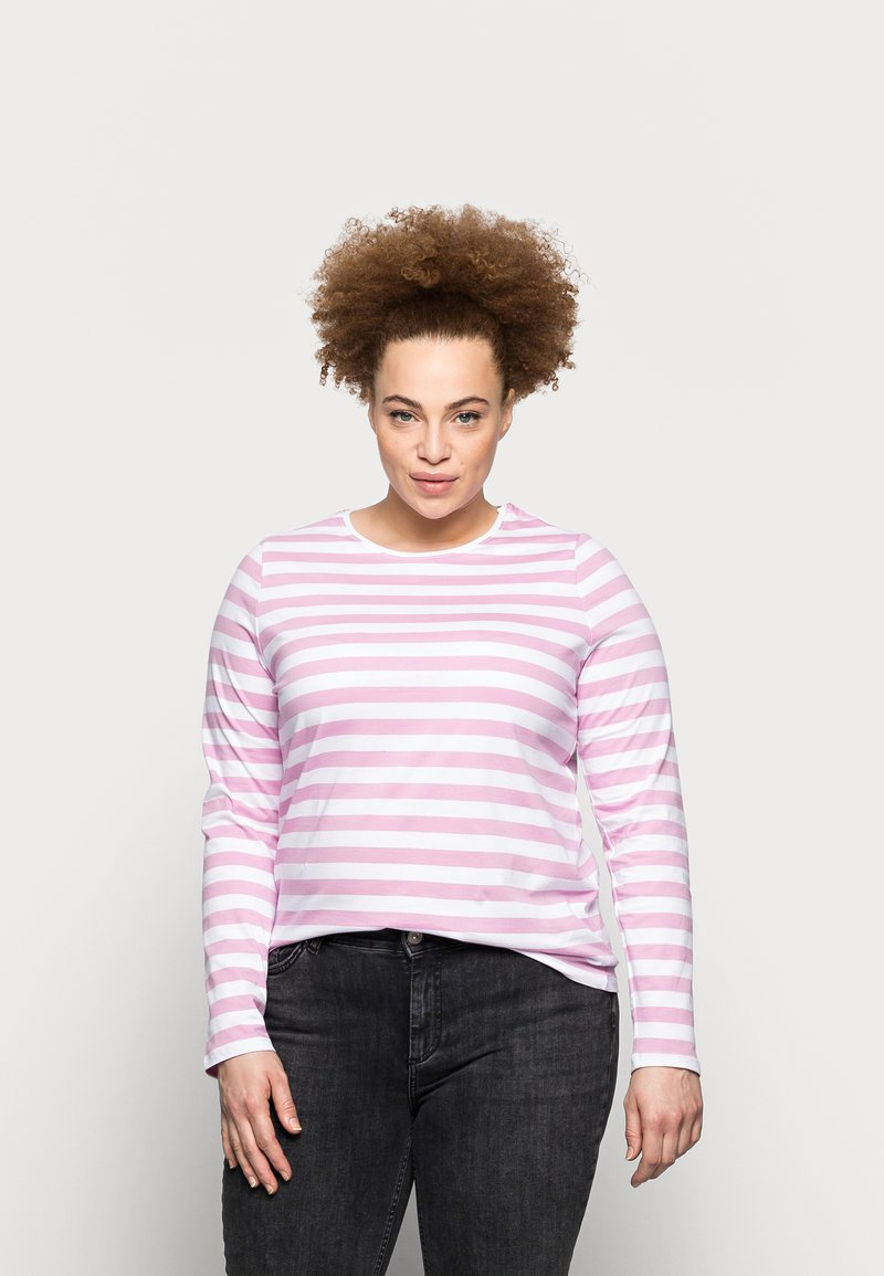 Pieces Curve - PCRIA NEW TEE - Long sleeved top - bright white/pastel lavender