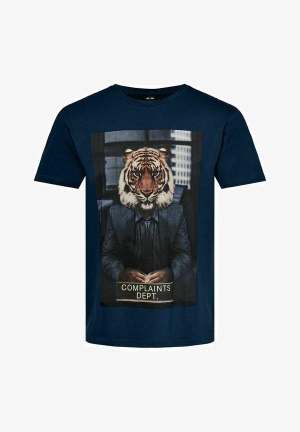 Only & Sons T-shirt z nadrukiem - dress blues/niebieski denim Odzież Męska EZSD