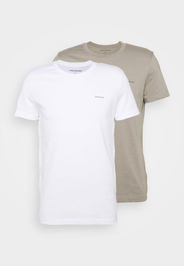SLIM 2 PACK - Basic T-shirt - elephant skin/white