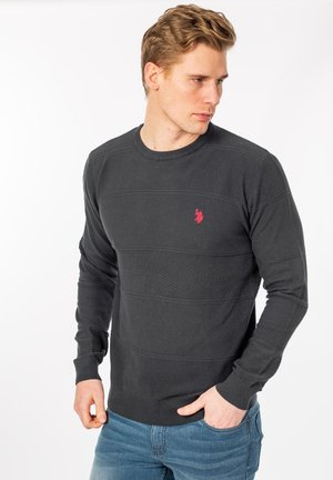 BASIM KNIT - Sweatshirt - dark grey melange