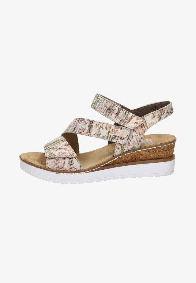 Sandalen met sleehak - mottled beige/ mottled pink
