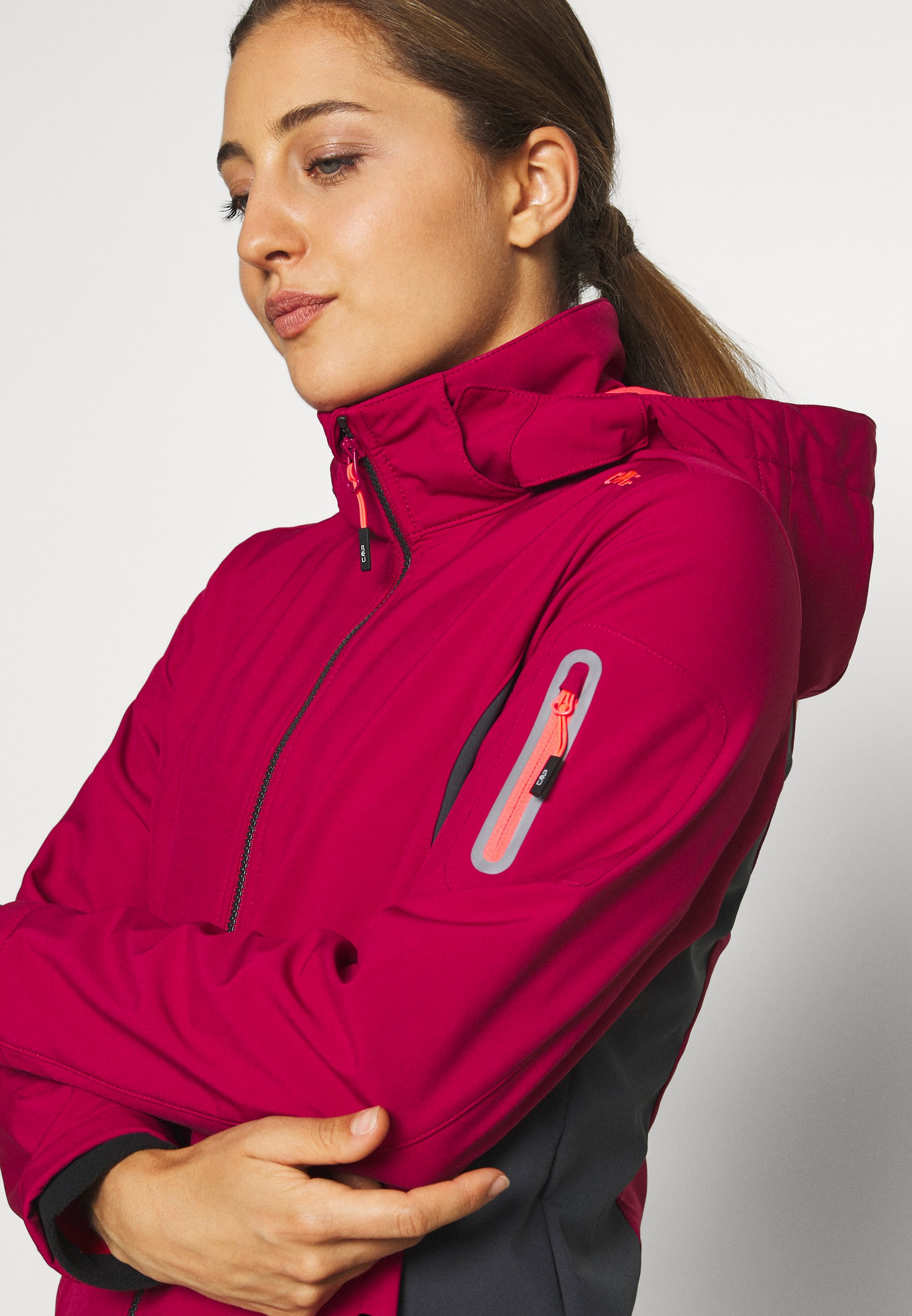 CMP WOMAN JACKET ZIP HOOD - Soft shell jacket - magenta/antracite s91AW