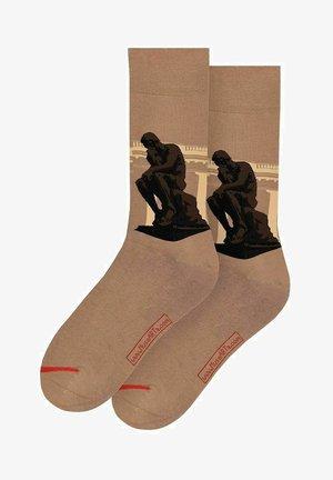 AUGUSTE RODIN - THE THINKER - Sokken - Camel