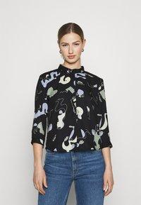 Monki - HELLA BLOUSE - Button-down blouse - black - 0