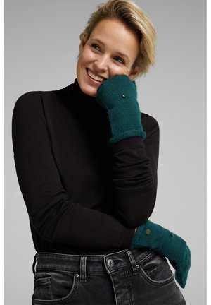 Fingerless gloves - dark teal green