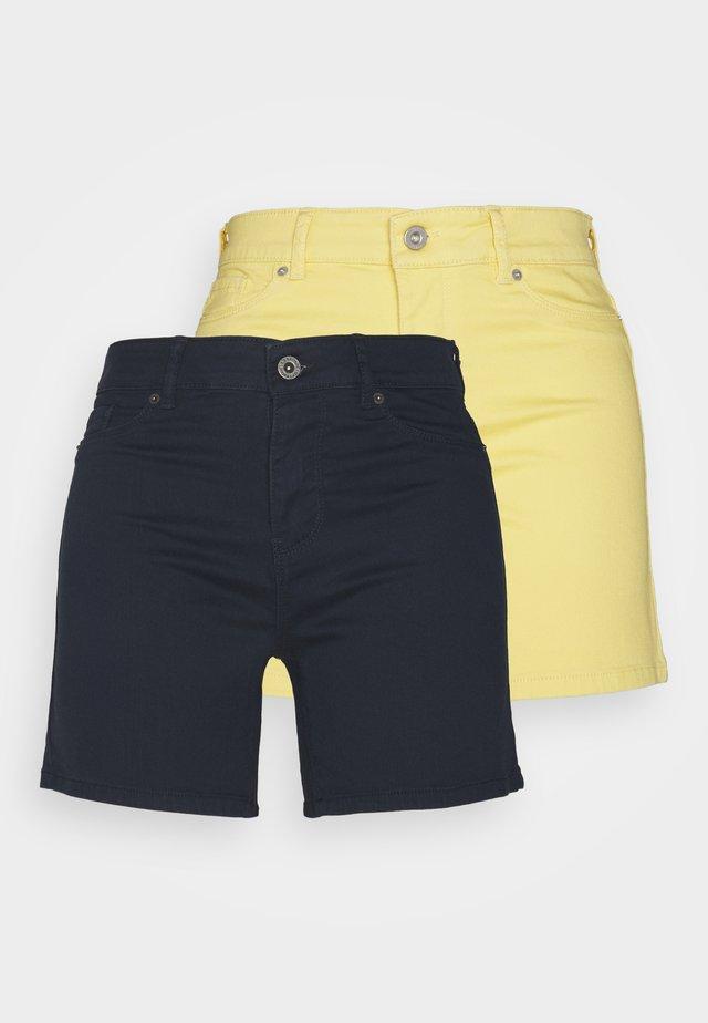 VMHOTSEVEN 2 PACK - Denim shorts - navy/cornsilk