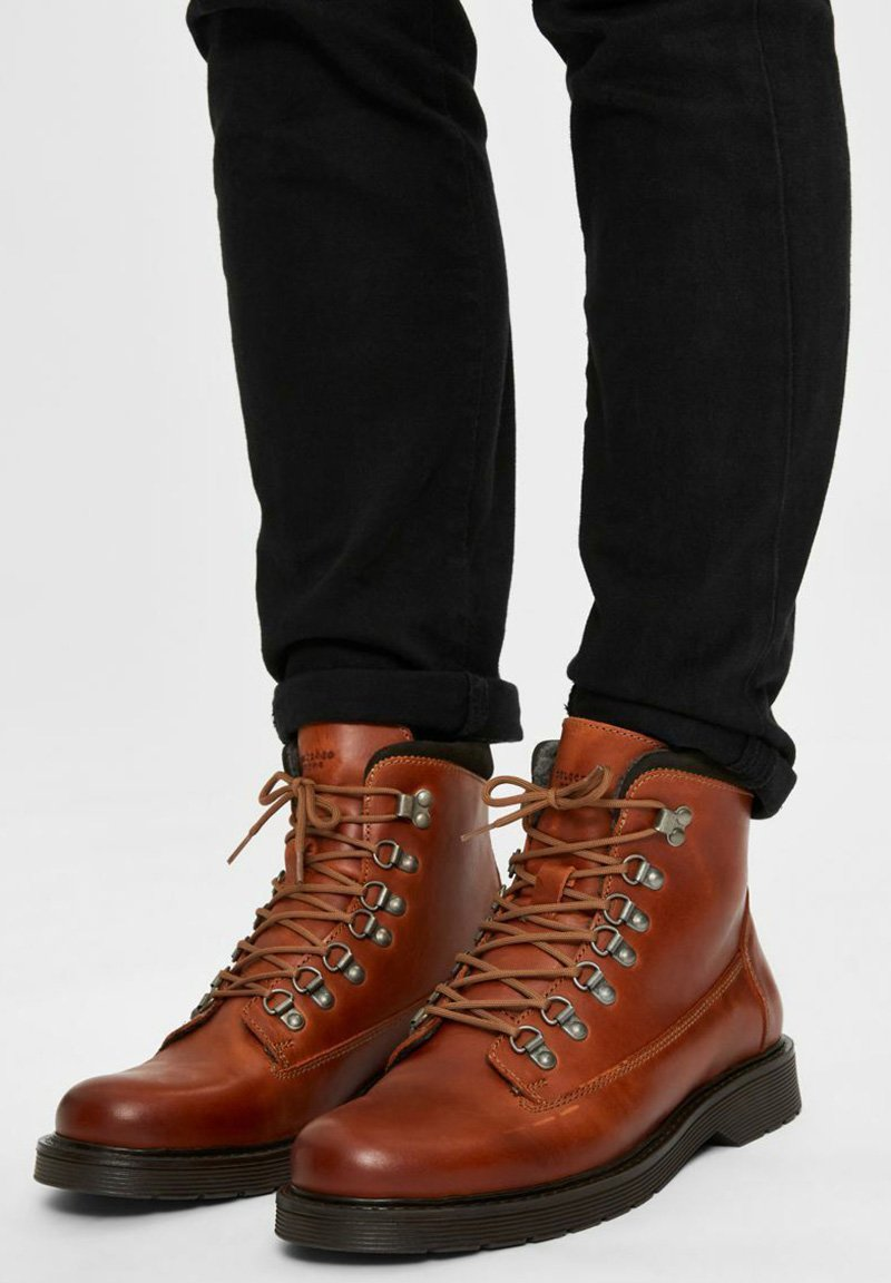 Selected Homme - Lace-up ankle boots - cognac