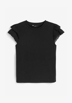 BRODERIE FRILL - Print T-shirt - black