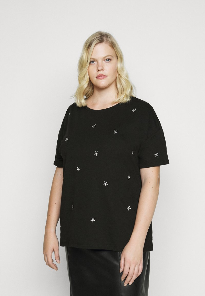 Dorothy Perkins Curve - CURVE METALLIC STAR EMBELLISHED TEE - Print T-shirt - grey