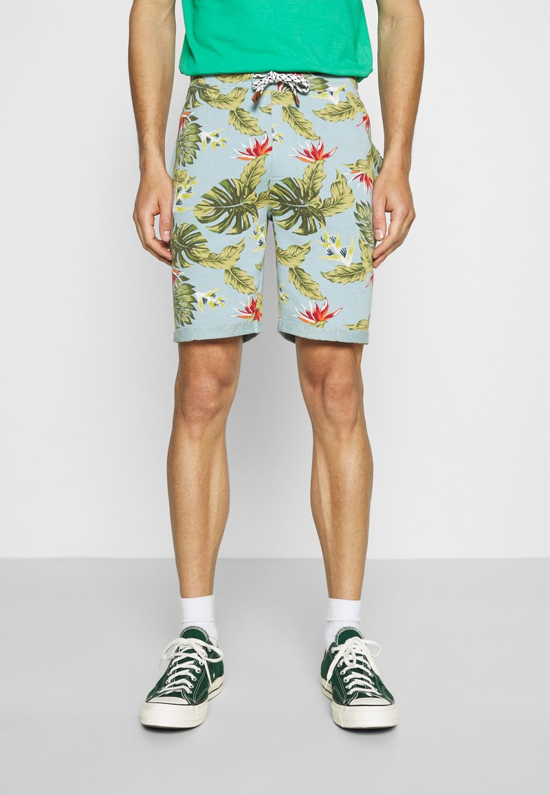 INDICODE JEANS - FLOWERS - Shorts - blue wave