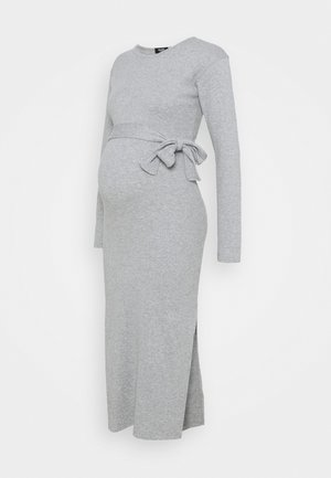 BELT SIDE SPLIT MIDI DRESS - Pletené šaty - grey marl