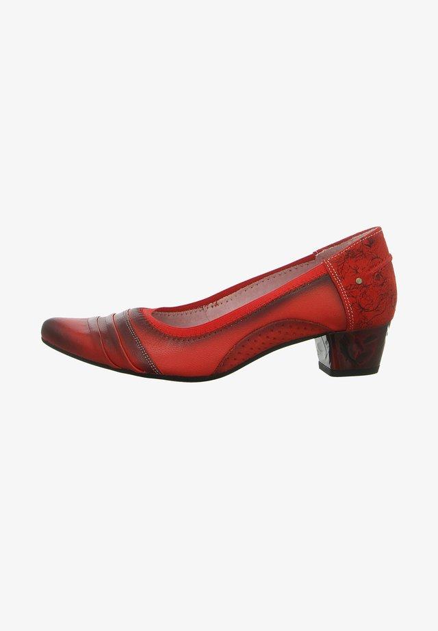 Classic heels - czerwony+kwiaty