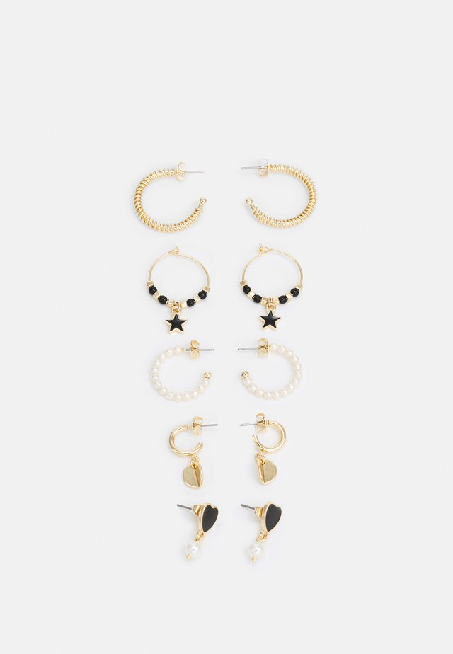 FGANICK EARRINGS 5 PACK - Oorbellen - gold-coloured/black