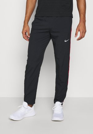 RUN STRIPE PANT - Spodnie treningowe - black/university red/silver