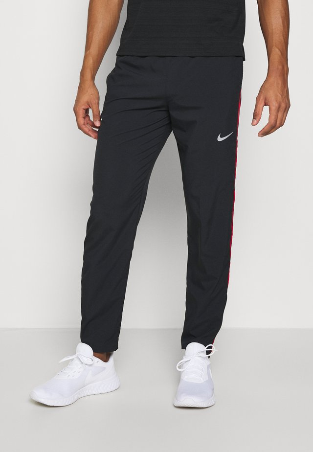 RUN STRIPE PANT - Träningsbyxor - black/university red/silver