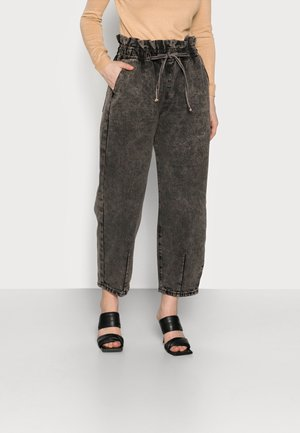 TIE DETAIL BALLOON  - Jeans a sigaretta - black