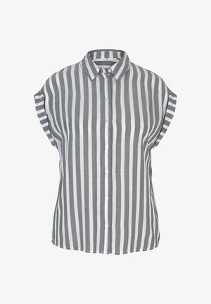Button-down blouse - offwhite navy vertical stripe