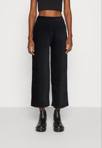 Even&Odd - WIDE LEG CROPPED CORD TROUSERS - Trousers - black - 0