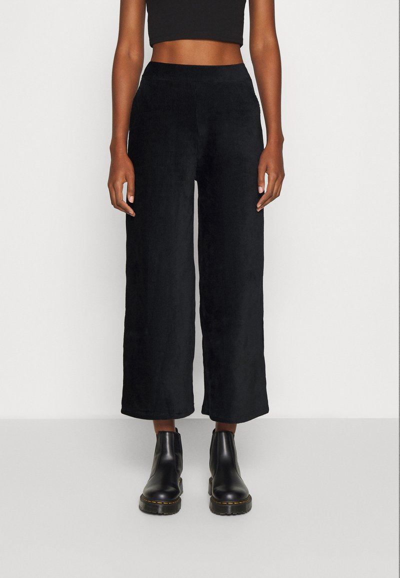 Even&Odd - WIDE LEG CROPPED CORD TROUSERS - Trousers - black