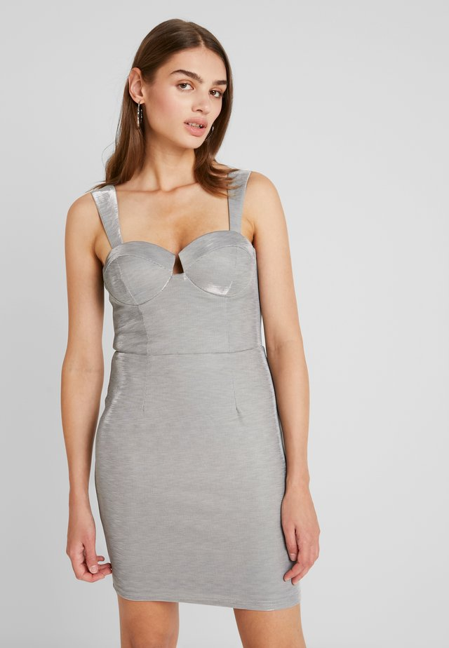 METALLIC BODYCON MINI DRESS - Shift dress - grey