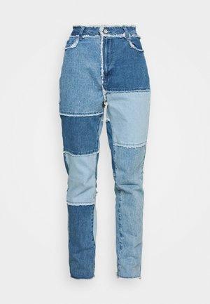 FRAY HEM PATCHED - Straight leg jeans - blue