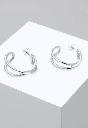 HOOPS CROSS BASIC - Earrings - silver-coloured