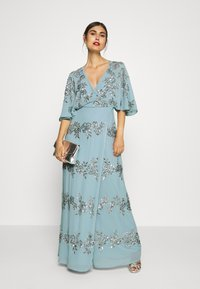 Maya Deluxe - WRAP FRONT ALL OVER EMBELLISHED CAPE MAXI DRESS - Occasion wear - blue - 1