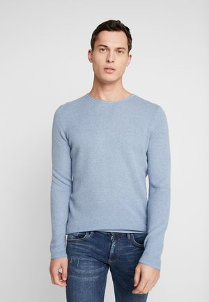 ZIGZAG STRUCTURED CREWNECK - Jumper - soft light blue melange