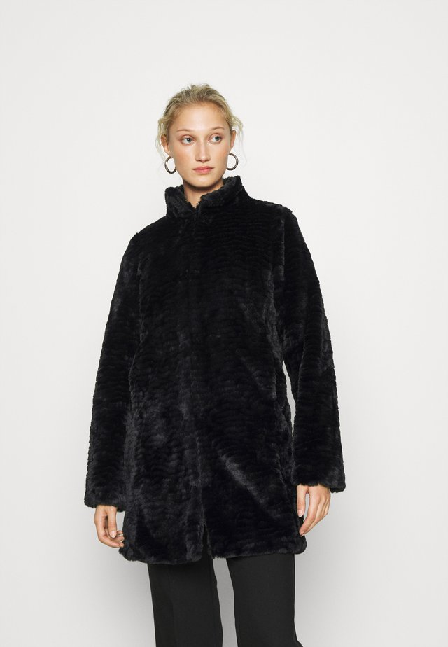 FUNNEL COLLAR TEXTURED LONGLINE  - Winter coat - black