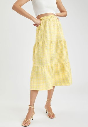 TIERED - A-line skirt - yellow