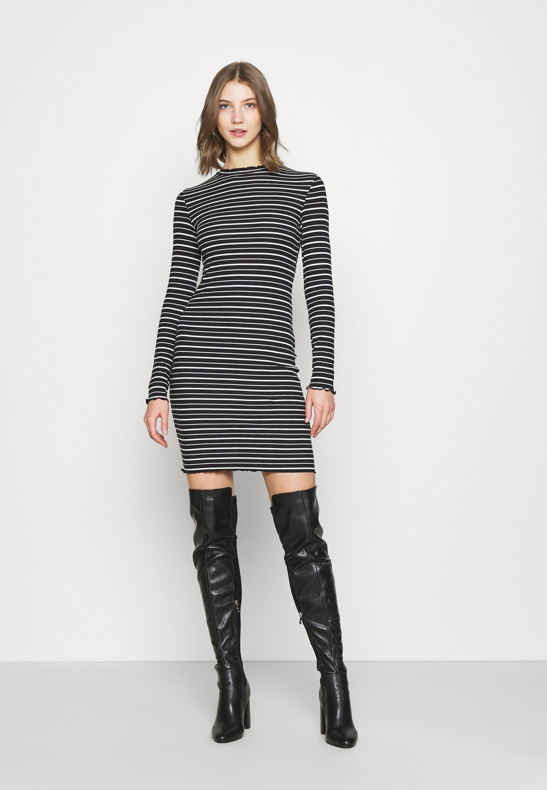 Women Rushed edges mini high neck long sleeves dress - Shift dress