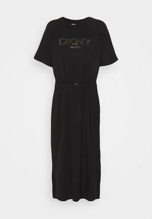 LOGO DRAWSTRING DRESS - Jersey dress - black