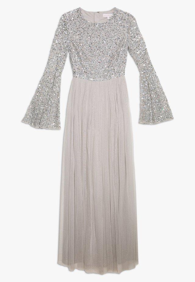 ROUND NECK DELICATE SEQUIN BELL SLEEVE MAXI DRESS - Festklänning - soft grey