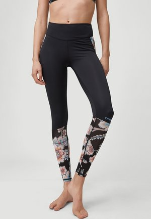 AOP - Leggings - black with red