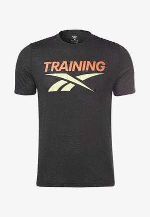 REEBOK TRAINING VECTOR T-SHIR - T-shirt med print - black