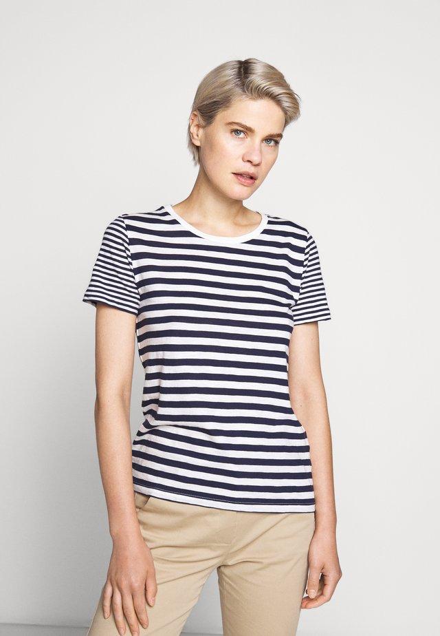 VINTAGE CREWNECK MIXED STRIPE - T-shirt z nadrukiem - navy/ivory