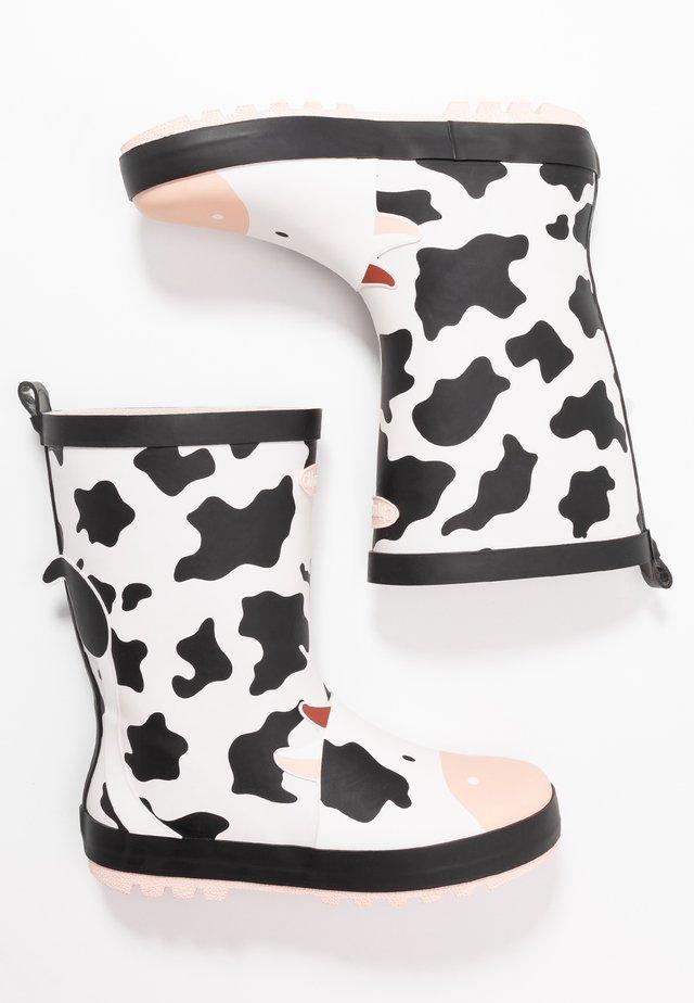 GERTIE - Stivali di gomma - black/white