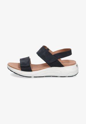 Sandały na platformie - ocean nubuc