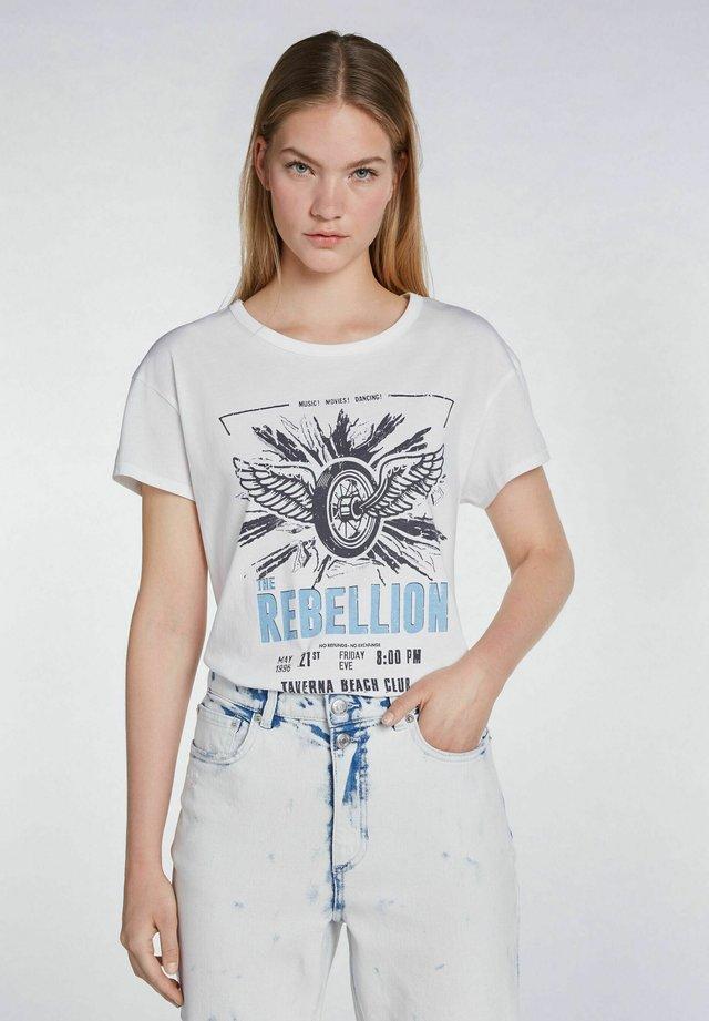 MIT ROCKIGEM PRINT - T-shirt imprimé - cloud dancer