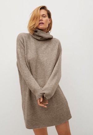 TALDORA - Gebreide jurk - středně hnědá