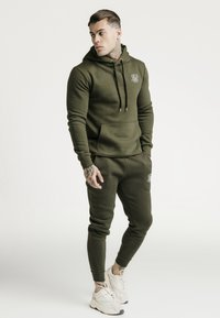 SIKSILK - MUSCLE FIT OVERHEAD HOODY - Jersey con capucha - khaki/white - 1