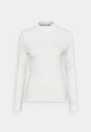 LONGSLEEVE ROUNDNECK WITH HEM RUFFLES - Long sleeved top - scandinavian white