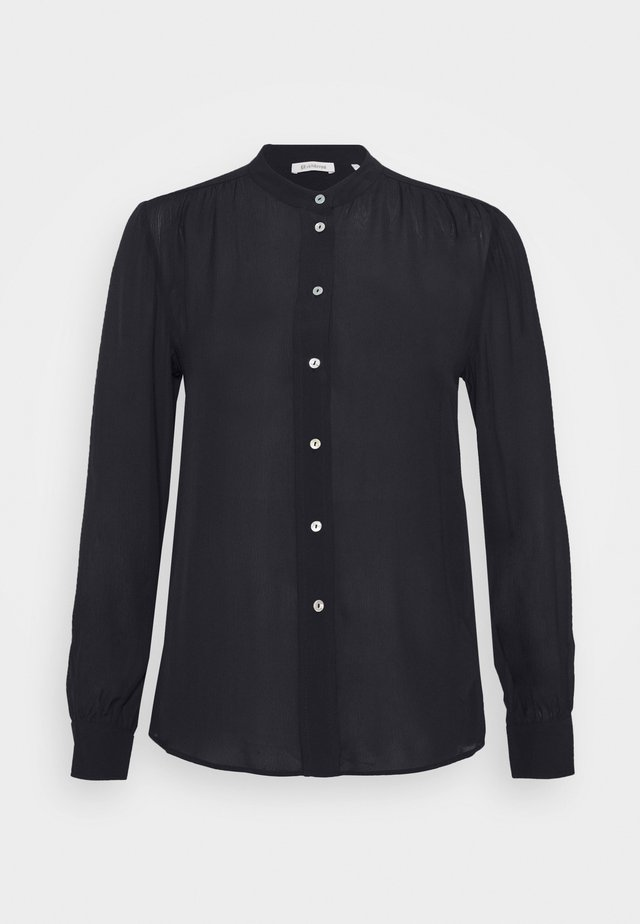 BLOUSE WITH GATHERING DETAIL - Button-down blouse - black
