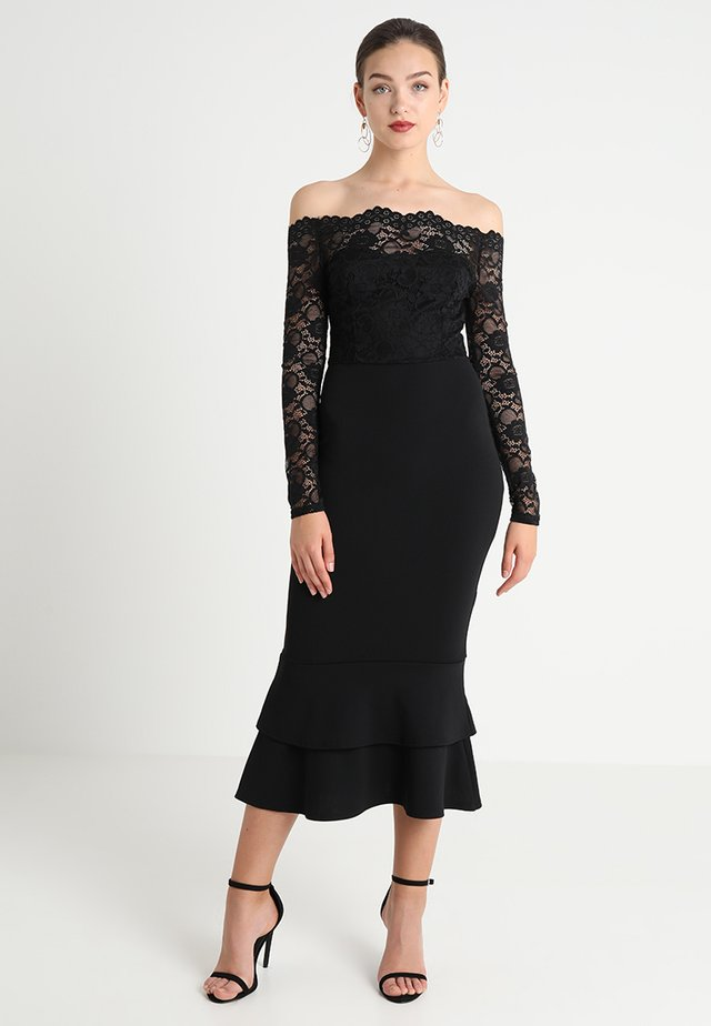 EYELASH BARDOT DIP HEM DRESS - Iltapuku - black