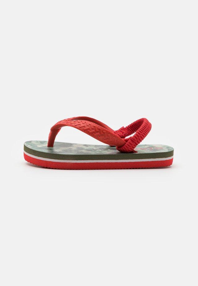 SOUTH BEACH CAMO UNISEX - T-bar sandals - khaki/red