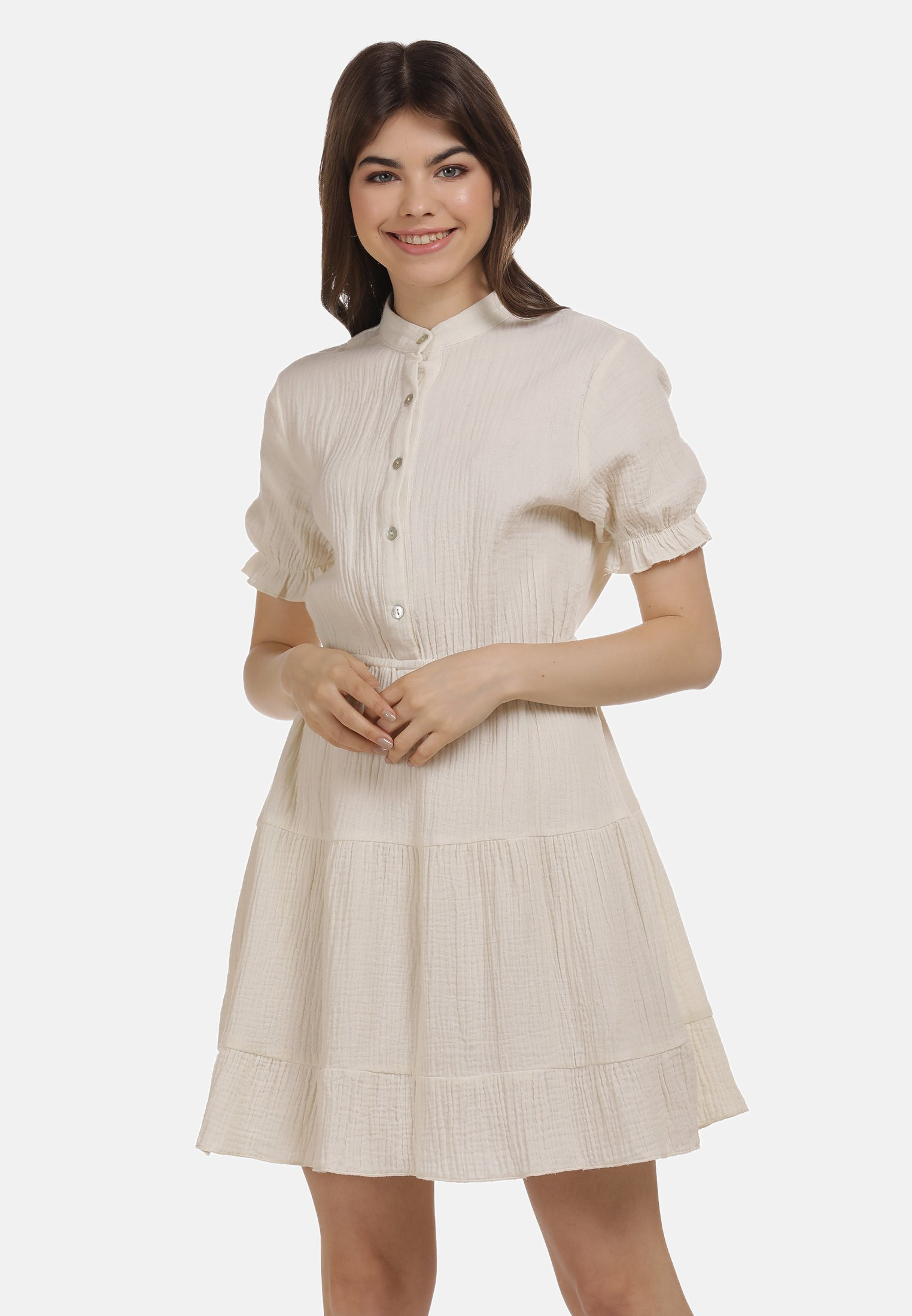Discount Women's Clothing myMo VOLANTKLEID Shirt dress wollweiss pdqyxXThE