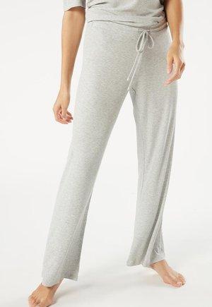 GERIPPTE HOSE MIT WEITEM BEIN AUS MODALMIX - Pyjama bottoms - silver grey mel