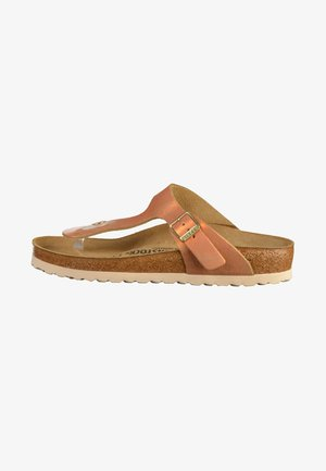 GIZEH - T-bar sandals - brown/copper/orange