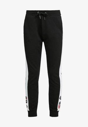 FREYA  - Tracksuit bottoms - black-bright white